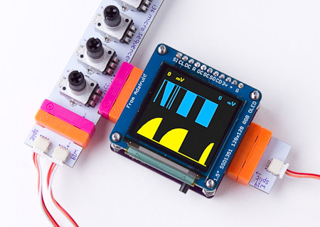 A custom bit made for Littlebits around an 128 by 128 OLED screen from Adafruit.