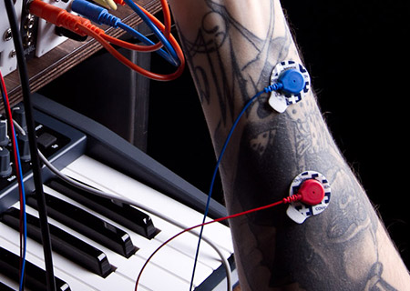 Human modular synthesizer inetrface via EMG snsor, sensing muscle electrical activity.